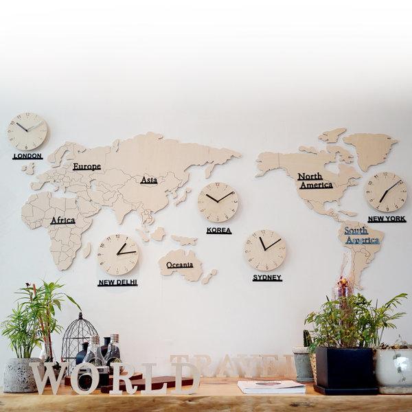 자작나무 세계지도 시계(대)/무소음/벽시계/원목시계 상품이미지
