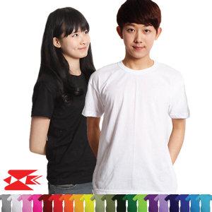 남자 여자 아동 라운드 무지티 흰색 면 티셔츠 단체티
