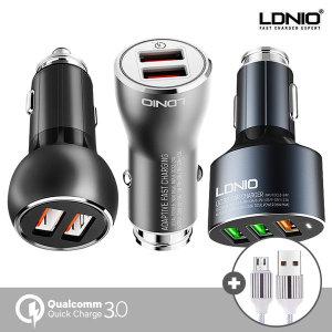 [모핏] LDNIO 풀메탈 퀵차지3.0 차량용 고속 충전기+케이블