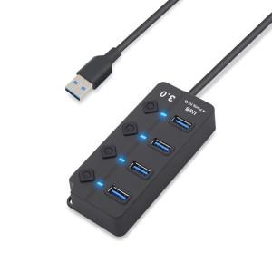 USB3.0 4포트 USB 허브 HUB-S430B/개별스위치/USB HUB