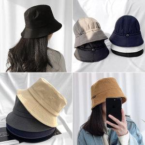 버킷햇 보넷벙거지 리본 체크 모자
