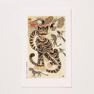 [GAN23390] 샵오브코리아  민화 엽서(小) - 호작도 / 전통공예품 외국인선물