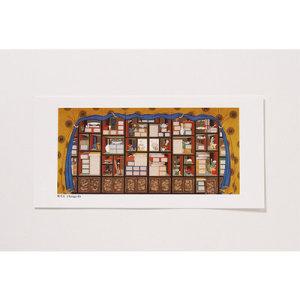 [GAN23404] 샵오브코리아  민화 엽서(中) - 책가도 / 전통공예품 외국인선물