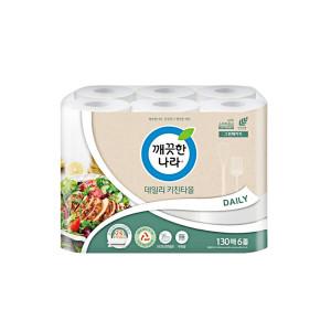 [깨끗한나라] 깨끗한나라 데일리 키친타월 130매4+2롤 x 1팩