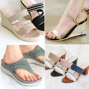 봄 여성 웨지 뮬 슬리퍼 통굽 블로퍼 샌들 구두 신발