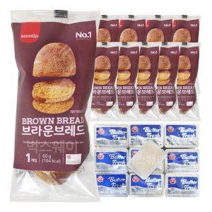 [샤니] 브라운브레드+미니 버터 10개 세트/냉동빵 부시맨빵
