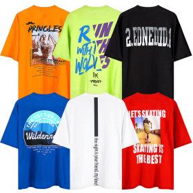 [Berkelekle] Printed front t shirt / round neck / solid color / v neck / striped / short sleeve /