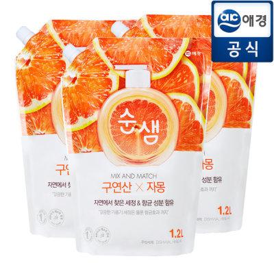 순샘 허브녹차/레몬유자 주방세제 리필 1.2kg 3개 상품이미지
