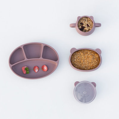 [BLUE MAMA] 4 Set/Food Tray+Bowl+Plate+Double Handled Cup