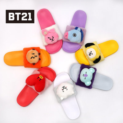 Exclusive/BT21/POP/Face/Doll/Pattern/Slippers