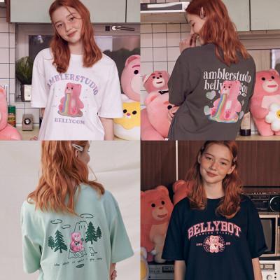 AMBLER Unisex oversized premium embroidered T-shirt/short-sleeve T-shirt