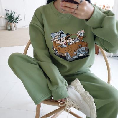 Disney men women/overfit sweatshirt hooded t-shirt short-sleeve tee