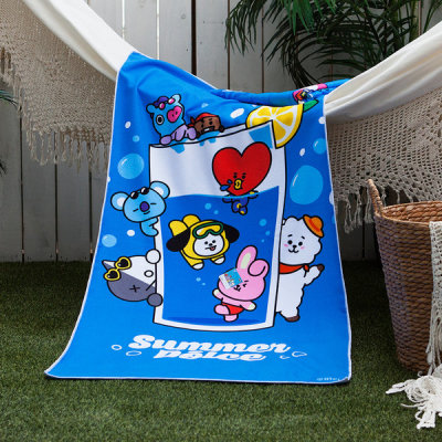 BT21 official product microfiber suede summer beach bath towel ultralight