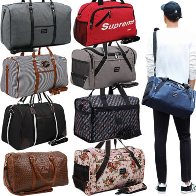 Travel stripe pattern flower baggage cross-body Boston bag clothes bag