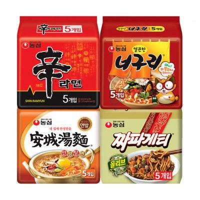 SHIN RAMYUN+Anseongtangmyun+NEOGURI+Chapagetti 20 Packs