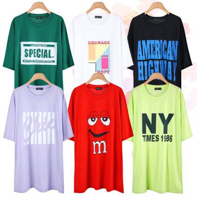 Short-sleeve Long T-shirt/Plus Size/Women/Boxy T-shirt/Dress/Maternity Clothes/Cotton/T-shirt