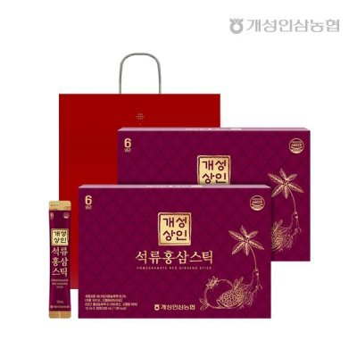 Gaesung Traders Pomegranate RedGinsengStick 10ml*30 X2 Boxes(Total 60 Sticks)/Exclusive Shopper Bag