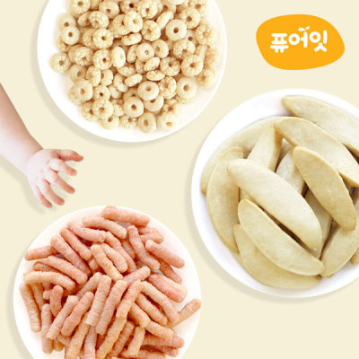 Pure-eat Organic pop rice rice crackers baby snacks 47 kinds 10+2