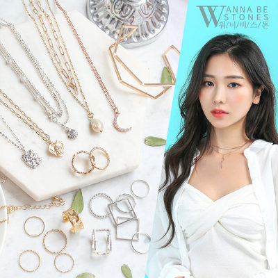 3 for KRW10000 Summer new arrival necklace chain layered coin choker