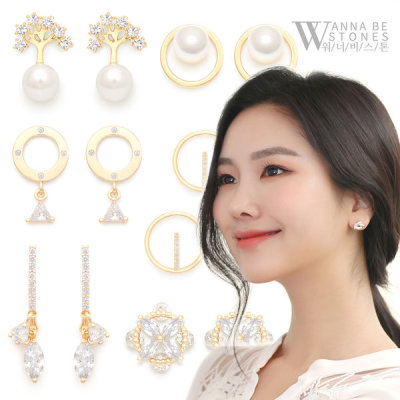 New arrivals 14K gold pin earring KRW 7900 flat price long cubic
