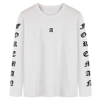 MOON COLLECTION Long Sleeve/T-shirt/Cotton/Men/Plain/Plus Size 5+1