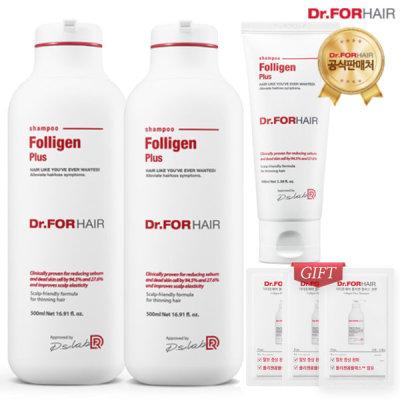 [Dr.FORHAIR] Dr.FORHAIR Folligen Plus Shampoo 500X2pcs+100ml+3pcs