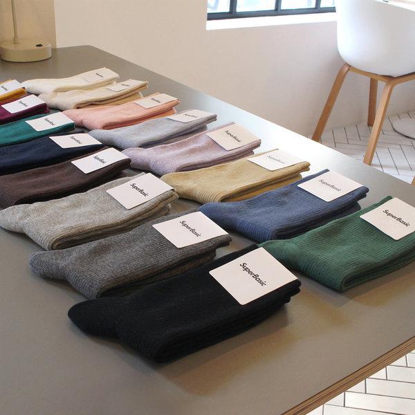 商品圖片,韓國代購|韓國批發-ibuy99|1290 Men Women Plain Basic Ribbed Socks (20 Color…